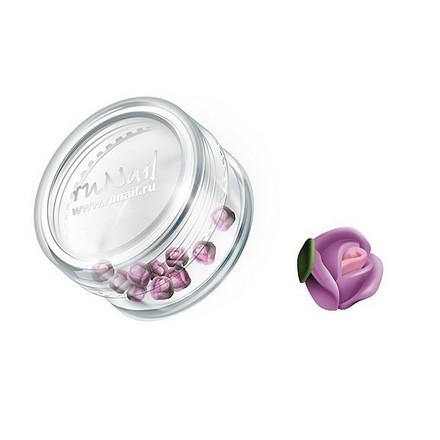 ruNail, дизайн для ногтей: пластиковые цветы 0364 (голландская роза, нежно-сиреневый), 10 штук