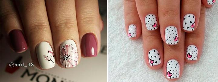 Романтичный дизайн на коротких ногтях