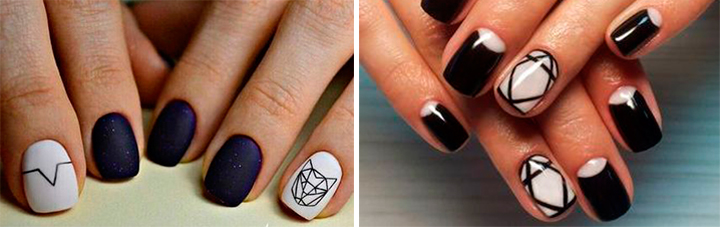 Графический дизайн на коротких ногтях