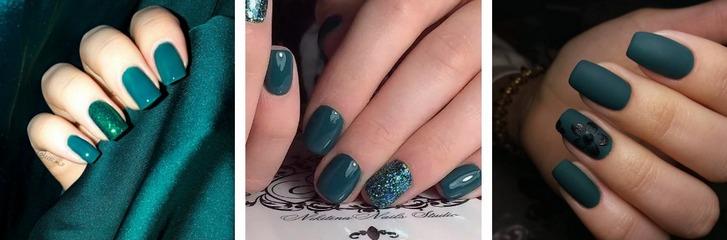 Сине-зеленый оттенок в маникюре