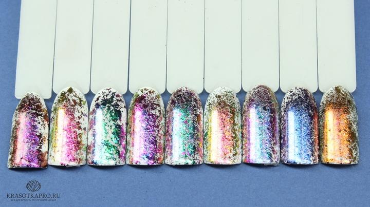 Дизайн ногтей с хлопьями юки фото
