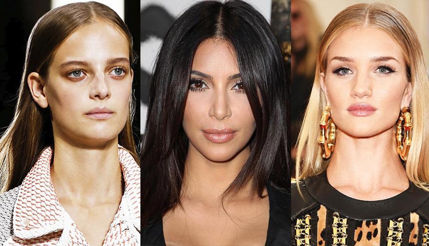 Прямой пробор на гладких волосах