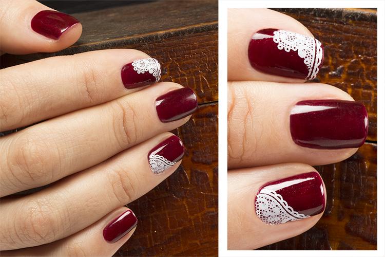 Цвет бордо дизайн ногтей