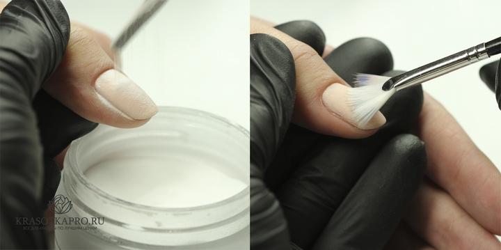 Нанесение акриловой пудры на первый слой однофазного гель-лака