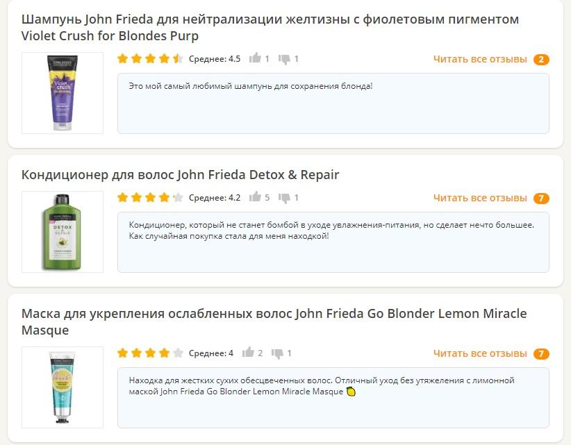 Отзывы о John Frieda